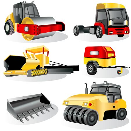 bulldozer: Construction icons Illustration