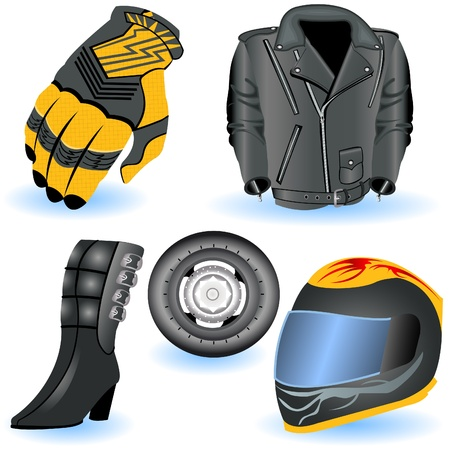 leather coat: Motorcycle icons  Illustration