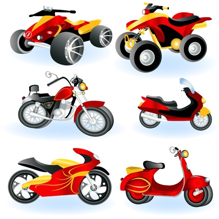 cartoon biker: Motorcycle icons  Illustration