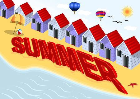 beach hut: Summer scenery with letters in front Illustration