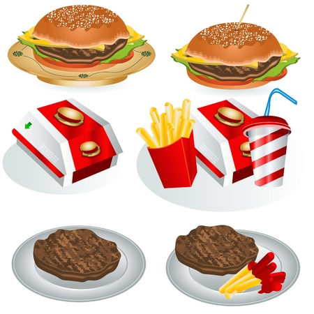 cheese burger: Collection de Fast Food Illustration