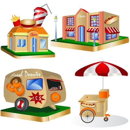 covered wagon: Fast Food Restaurants Illustration