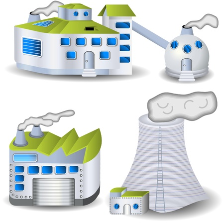 gas plant: Different factory illustrations Illustration