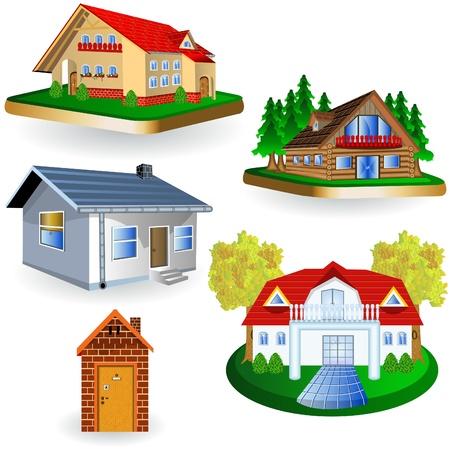 Een verzameling van vier verschillende huis illustraties.