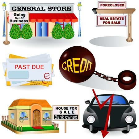 Illustration of different recession images, part 3 Vector
