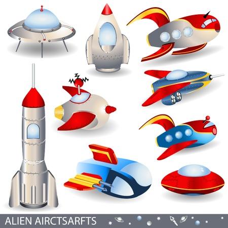 Illustratie van 9 verschillende buitenaardse vliegtuigen.