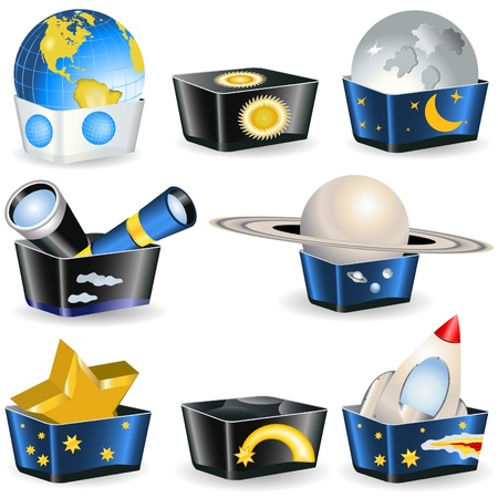 Collection of boxes - astronomy related icons. Stock Vector - 11533668