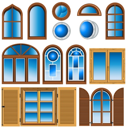 wooden window: Collection of different type of window illustrations.