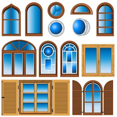 finestra: Raccolta di diversi tipi di finestre illustrazioni.