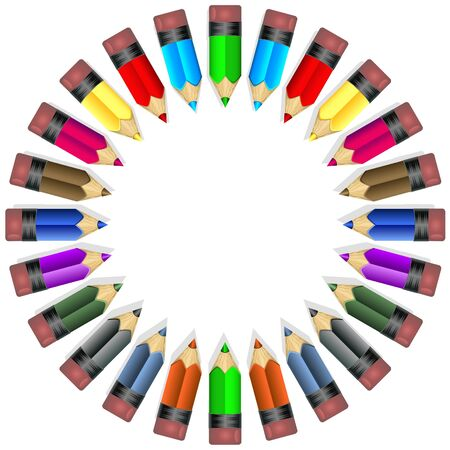 sorted: Colorful wooden pencil illustrations, sorted in circle and ready to use. Illustration