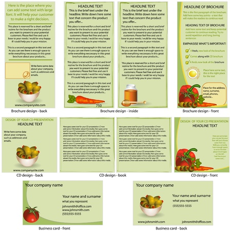 Food stationary template - brochure design, CD cover design and business card design in one package and fully editable. Stock Vector - 11852770