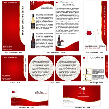 Wine stationary template - brochure design, CD cover design and business card design in one package and fully editable. Vector