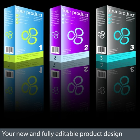 Totalmente editable nuevo diseño caja del producto. Ilustración de vector