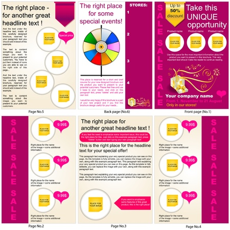 Brochure design, all pages in one package and fully editable. Stock Vector - 12321339