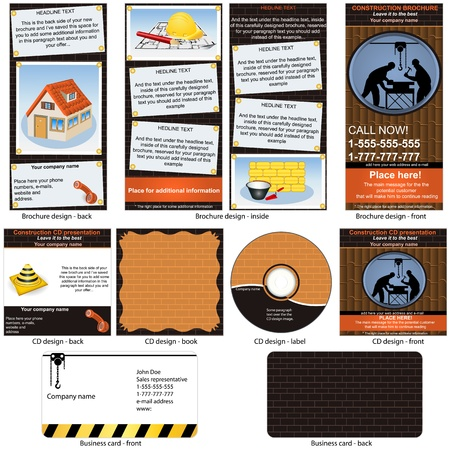 Construction stationary - brochure design, CD cover design and business card design in one package and fully editable. Vector