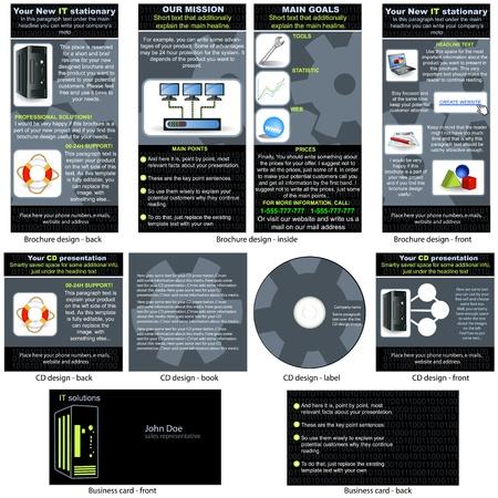 情報技術 (IT) 固定 - パンフレットのデザイン、CD ジャケットのデザイン、ビジネス カードのデザイン 1 つのパッケージと完全に編集可能。