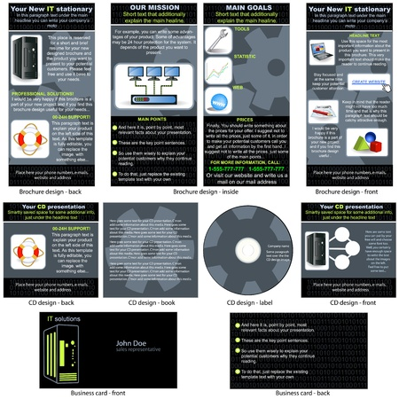 it business: Information Technology (IT) stationary - brochure design, CD cover design and business card design in one package and fully editable.