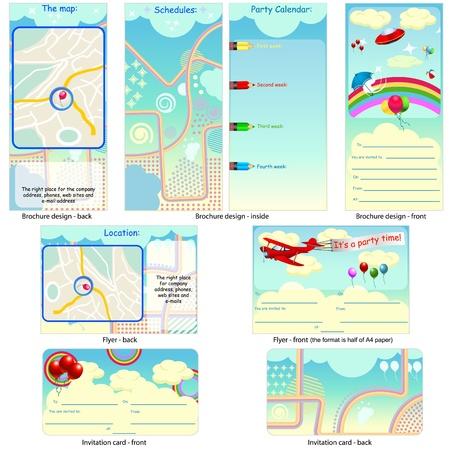 子供パーティー定常 - パンフレットのデザイン、チラシ デザイン、招待カードのデザイン 1 つのパッケージと完全に編集可能です。  イラスト・ベクター素材