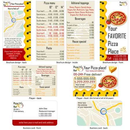 Pizza restaurant stationary - brochure design, flyer design and business card design in one package and fully editable.