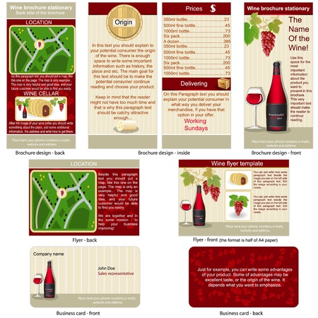 Red wine stationary - brochure design, flyer design and business card design in one package and fully editable. Vector