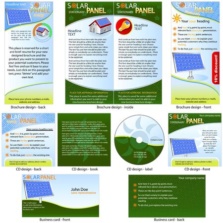 solar panel: Solar Panel Stationary - brochure design, CD cover design and business card design in one package and fully editable.