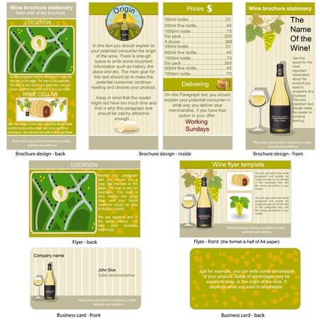 whine: White wine stationary - brochure design, flyer design and business card design in one package and fully editable.