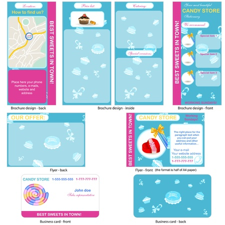 stationary set: Candy store stationary - brochure design, flyer design and business card design in one package and fully editable