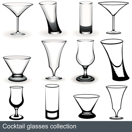 margarita glass: Collection of the most popular cocktail glasses, illustration