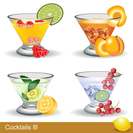 A collection of four different cocktails with fruits