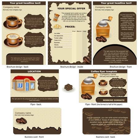 Coffee stationary - brochure design, flyer design and business card design in one package and fully editable  Vector