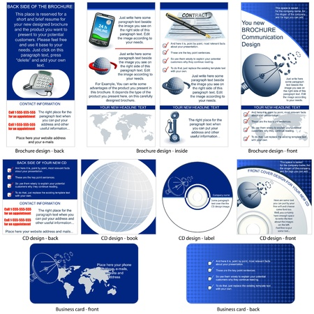 dish disk: Communication stationary - brochure design, CD cover design and business card design in one package and fully editable  Illustration