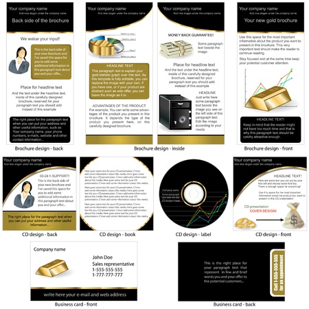 stationary set: Gold stationary - brochure design, CD cover design and business card design in one package and fully editable  Illustration