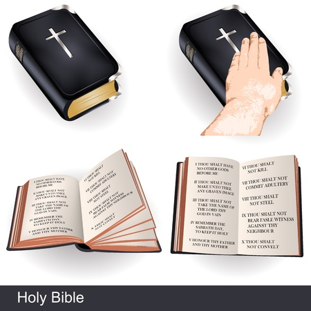 Holy bible illustrations, and a hand over the bible  Illustration