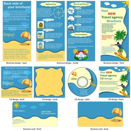 여행: 정지 여행 - 브로셔 디자인, CD 커버 디자인과 명함 디자인 하나의 패키지에 완벽하게 편집 일러스트