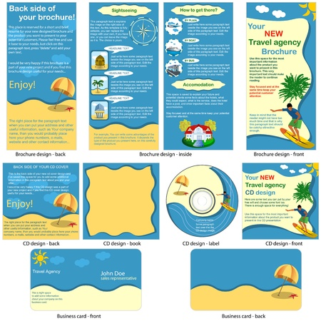 Travel stationary - brochure design, CD cover design and business card design in one package and fully editable  Vector
