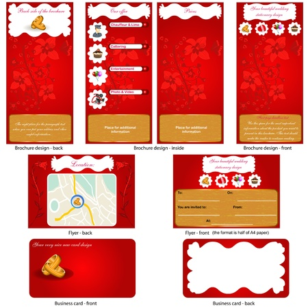 Wedding stationary - brochure design, CD cover design and business card design in one package and fully editable  Stock Vector - 12490910