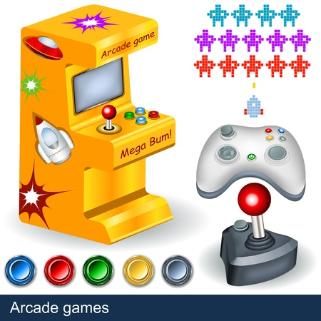 computer games: Arcade games illustration collection
