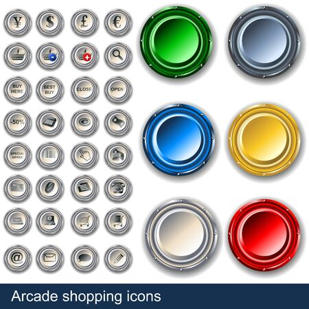 Collection of shopping icons along with arcade buttons  Illustration