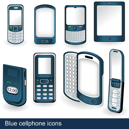 Collection of 8 different cellphone icon illustrations