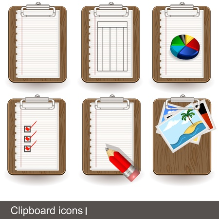 Collection of clipboard icon illustrations - part 1 Vector