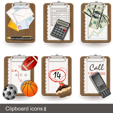 office supply: Collection of clipboard icon illustrations - part 2