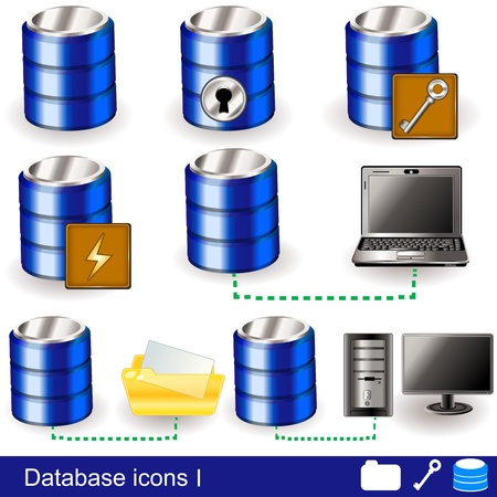 database security: Collection of different database icon illustrations - part 1