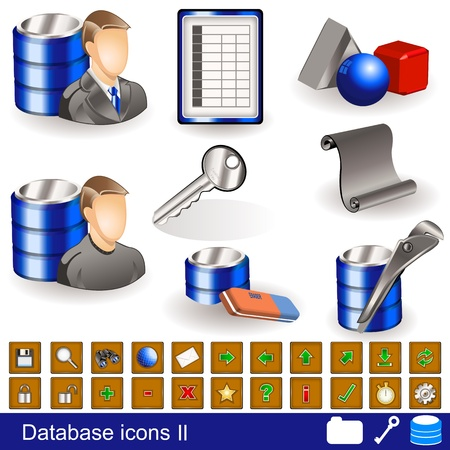 A collection of different database icons - part 2 Illustration
