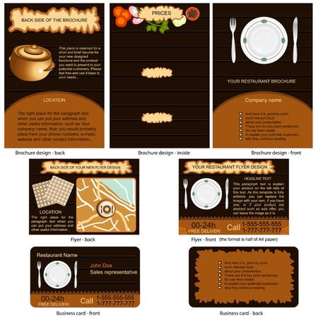 Restaurant stationary - brochure design, flyer design and business card design in one package and fully editable  Vector