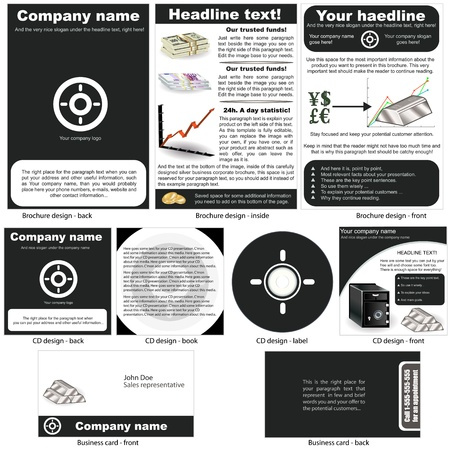 Silver stationary - brochure design, CD cover design and business card design in one package and fully editable  Vector