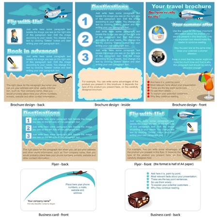 Travel stationary 2 - brochure design, flyer design and business card design in one package and fully editable. Vector
