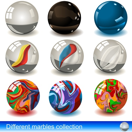 Collection of different marbles: glass and porcelain material