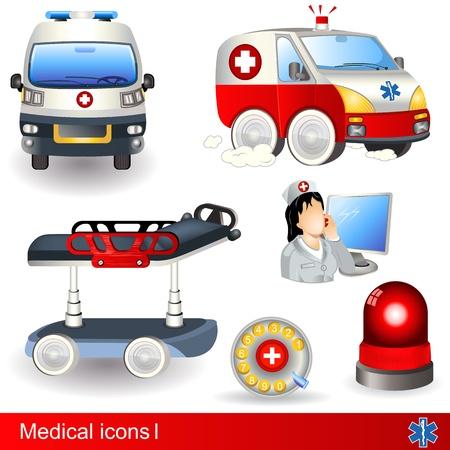 ambulancia: Iconos médicos 1, establece seis diferentes ilustraciones.