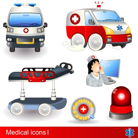 emergency call: Medical icons set 1, six different illustrations. Illustration