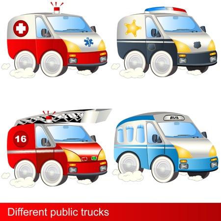 utilities: Cuatro diferentes camiones de asistencia m�dica de urgencia la polic�a cami�n de bomberos de autob�s Vectores